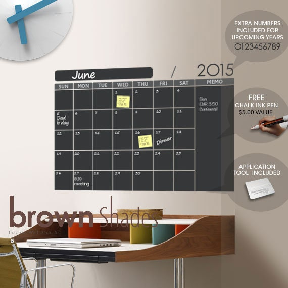 2015 Chalkboard Wall Calendar With Free Chalk Ink Pen