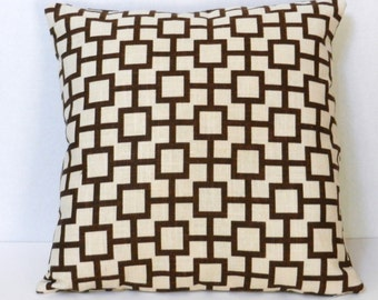 Brown and Cream Geometric Pillow Cover, Linen Like Slub, Robert Allen Home Dec Fabric,  18 x 18 inch, for sofa, chair, bed