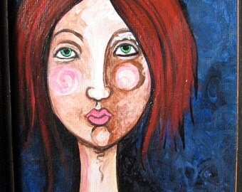 Original Painting - Girl with Red Hair  - Ready To Hang - Small Painting Framed 6x8
