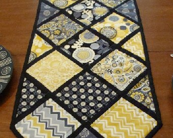 Modern Quilted Table Runner, Folkloric Charm  Black
