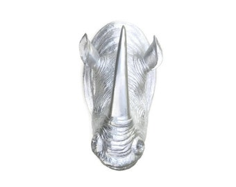 Metallic Silver Rhino Head Wall Mount - Rhinoceros Faux Taxidermy NR10