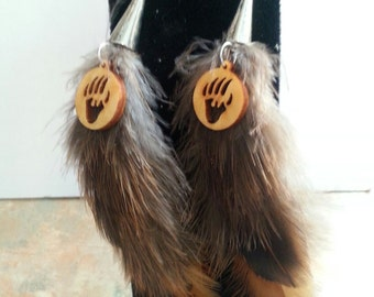 Adorable Feather Earrings With Bear Paw Charm/Hippie/Gypsy/Boho