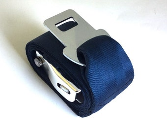 Vegan Belt - Dark Blue Seat Belt Webbing with Airline Seatbelt Buckle