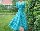 Long Dress Vintage / Maxi / Viscose / Buttoned / Green / Turquoise / Size EUR36 / UK8