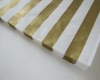 150 or more Gold Striped paper bags, gold favor bags, gold candy bar bags gold wedding bags birthday party favor bags