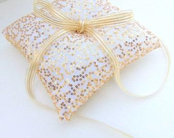 Gold Sequin Ring Bearer Pillow, Gold Ring Bearer Pillow, Gold Wedding Decor, Garden Wedding, Gold Wedding - GODDESS