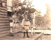 Antique Real Photo Postcard. Little Boy. Rustic Americana. House & Plants. Early AZO Stamp Box. 1910s Paper Ephemera.