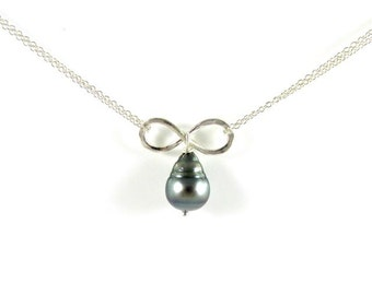 Tahitian Pearl Infinity Necklace, Sterling Silver, Genuine, Hammered Pendant, Wedding Bridal Jewelry, Anniversary, Christmas Gift Idea, Boho