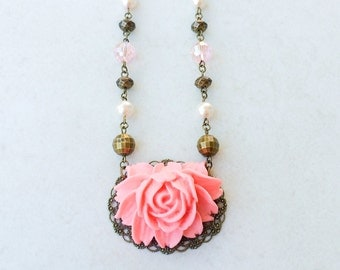 Coral Flower Statement Necklace, Beaded Chain Pendant Necklace