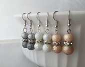 Dangle Pearl earrings, Pearl and crystal earrings, textured Pearl earrings, dangle earrings