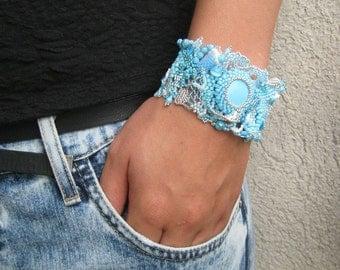 Blue bracelet Beaded Jewelry Boho Bracelet Gifts for her Womens bracelet Freeform peyote bracelet Original gift