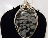 Snowflake Obsidian Gemstone, Wire Wrapped Pendant, Sterling Silver