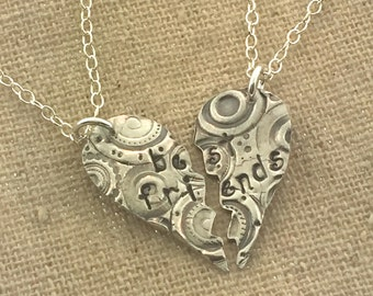 Best Friends Necklace, Recycled fine silver BFF pendant, TWO NECKLACES