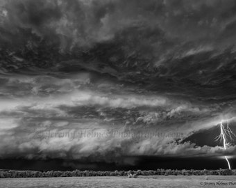 Black and white fine art print of a Supercell thunderstorm with lightning in Belle Fourche South Dakota on 6-19-15