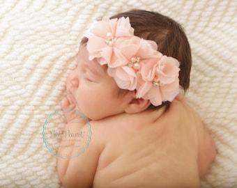 Blush baby headband- baby shabby headband- flower headband - blush headband- baby headband- rhinestone headband- girls headband -newborn
