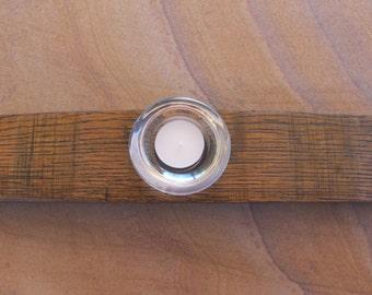 Tea Light Wine Barrel Stave Candle Holder with Ebony Finish