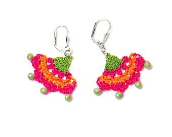 Earrings- Oriental Style Crochet Earrings, Ethnic Bohemian Drop Earrings, Pink Orange Ottoman Historical Ancient Fabric Textile Jewelry