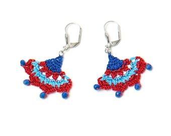 Earrings-Oriental Style Crochet Earrings,Ethnic Earrings,Red Blue,Iznik Tile,Ottoman,Historical Jewelry,Ancient Inspired