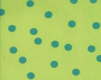 Barcelona Rain Dots in Lime, Brigitte Heitland, Zen Chic, Moda Fabrics, 100% Cotton Fabric, 1535 30