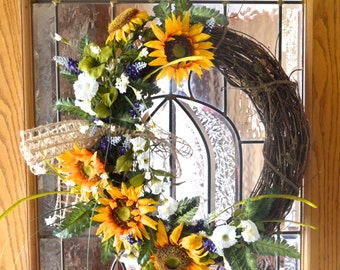 Sunflower Grapevine Wreath -  Summer Grapevine Wreath - Sunflower Summer Wreath - Sunflower Wreath