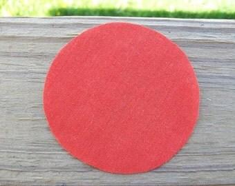 30 pcs Hand Cut 3 inch Fabric Circles Cotton Orange