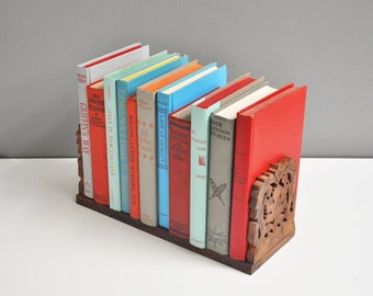 Vintage Carved Wood Expandable Book Rack