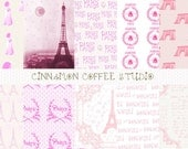 Pink French Digital Papers, Paris Backgrounds, Paris Patterns, Retro Pink Eiffel Tower Set of 10