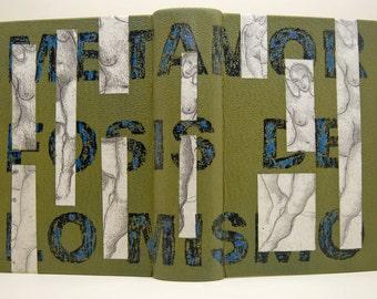 """Encuadernación del libro  """"Metamorfosis de lo mismo"""" de Gonzalo Rojas"""