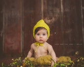 Pure and simple yellow pixie bonnet, hood. Choose your size. Great photo prop. Spring, summer