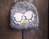 Sleepy fuzzy owl crochet beanie hat. newborn. Ready to ship. Great photo photography prop. UK seller