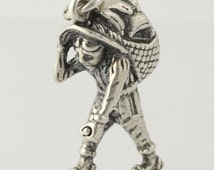 Farmer Charm - Sterling Silver Old Man Laborer 3D Figurine 925 Old Fashioned r3551