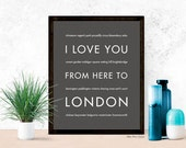 Gift Idea for Her, London Art Print, I Love You From Here To LONDON, Shown in Dark Gray - Choose Color Travel, Canvas Poster