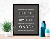 London Print, United Kingdom Travel Poster Home Decor, I Love You From Here To LONDON, Dark Gray, Canvas Print