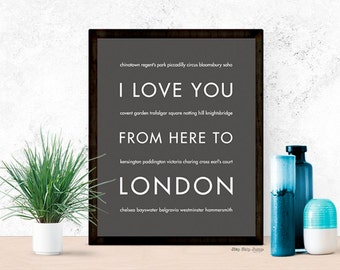 London Print, London Gift, Travel Poster Home Decor, London Artwork, I Love You From Here To LONDON, Dark Gray, Canvas Print