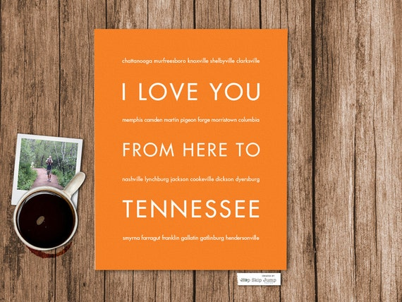 Tennessee Vols Gift, State Art Print, I Love You From Here To TENNESSEE, Shown in Orange - Choose Color Canvas Frame