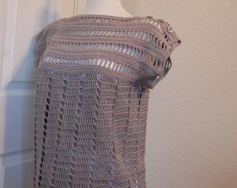 Woman's Crochet Top in Pewter Grey Cotton with button detail in size medium/large