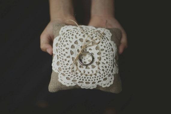 Linen Burlap Ring Bearer Pillow