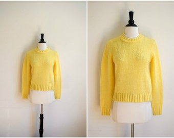 Vintage bright yellow knit sweater / acrylic sunny sweater