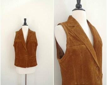 Vintage brown suede leather vest / southwestern vest