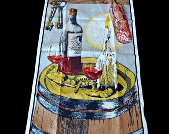 Vintage Tea Towel Mid Century Wine and Candle