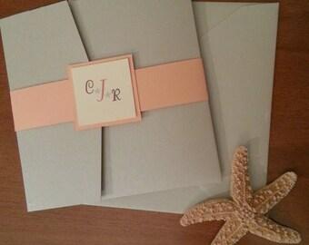 Beige and Coral Starfish Metallic Pocket fold Wedding Invitation Set