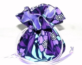 Drawstring Jewelry Bag Pouch - Jewelry organizer - Purple, lavender and blue floral travel bag