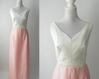 Vintage 1950s Gown, Vintage Pink Wedding Dress, Vintage 50s White & Pink Dress, Formal 50s Gown, Vintage Linen Pink Gown, 1950 Wedding Dress