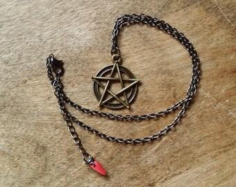 Pentacle Pendant Necklace, Pentagram Necklace, Short Adjustable Choker Necklace, Choker, Goth, 90's, Rocker, Witchy