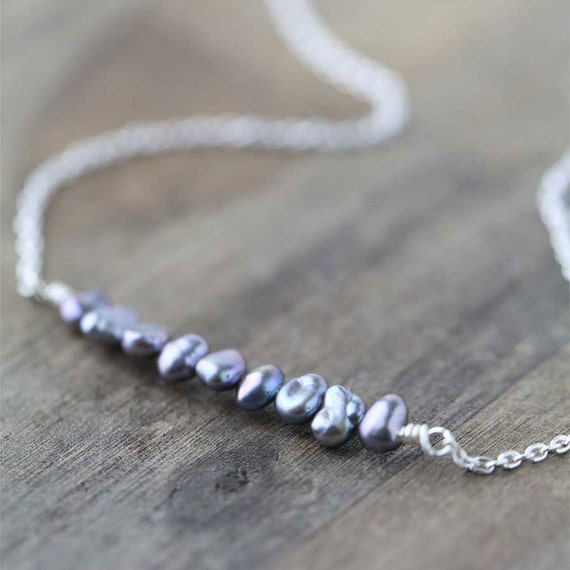 SALE Tiny Gray Pearl Silver Necklace / Freshwater Pearl Nuggets and Sterling Silver Chain