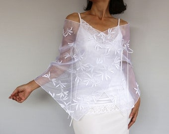 Bridal Shawl, Wedding Dress Cover-up, Bridal Bolero Shrug, Wrap Stole, White Organza Jacket Shrug, 3D Butterfly Leaf, Cape. Handmade