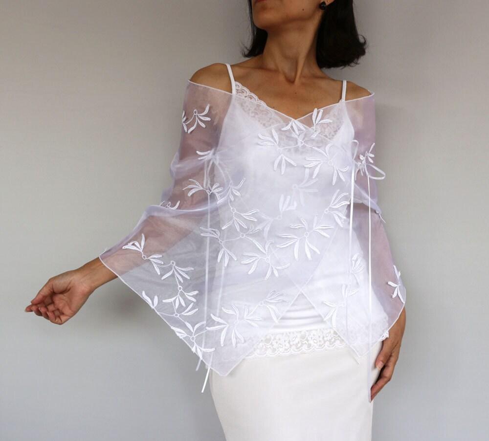 Ch le de mariage organza blanc vol paule wrap mariage robe - Chale blanc mariage ...