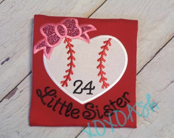 Baseball Heart with Bow--Little Sister on Red shirt with Pink Bow-- Applique Baseball Shirt or bodysuit- Baseball Sister Shirt