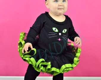 Black Cat Kitty Kitten Halloween Costume Shirt only--Embroidered shirt or Bodysuit