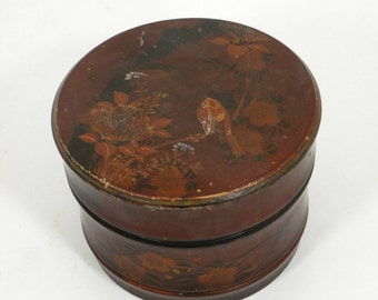 Vintage Red Lacquer Ware  Asian Collar Box Asian Scene  Wood